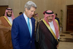 U.S. Secretary of State John Kerry walks with Crown Prince Mohammed bin Nayef, upon arriving at the Saudi Ministry of Interior in Riyadh, Saudi Arabia, on May 6, 2015, for a meeting and working dinner with him, Adel Al-Jubeir, the newly named Saudi Foreign Minister, and other government leaders. [State Department photo/ Public Domain]