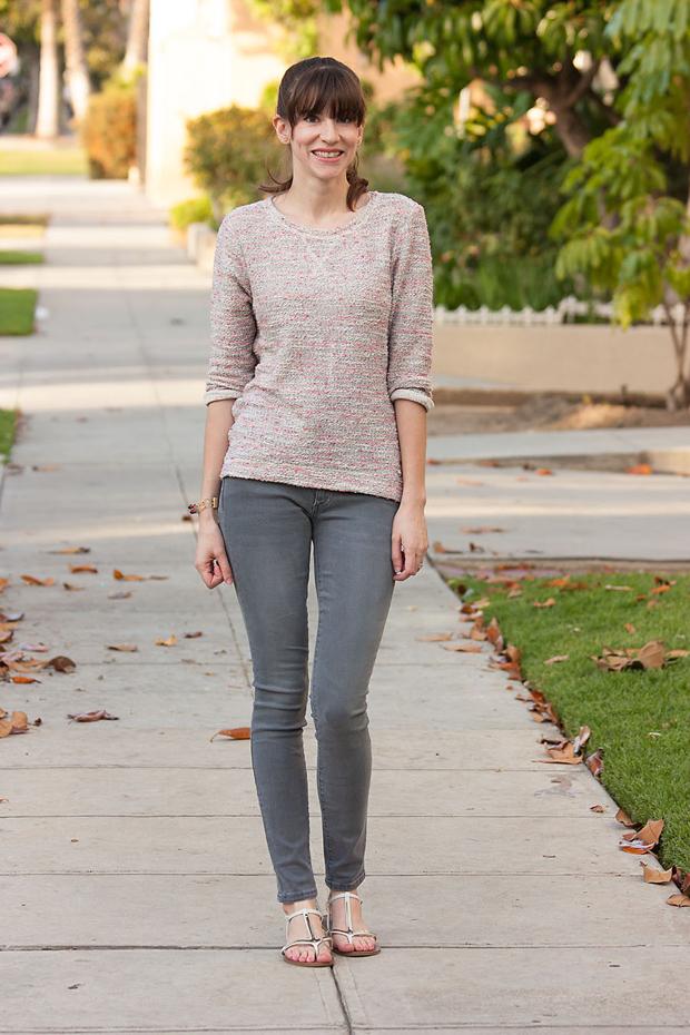 Grey denim, Pink Tweed Sweatshirt