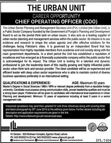 The Urban Unit Chief Operating Officer Required