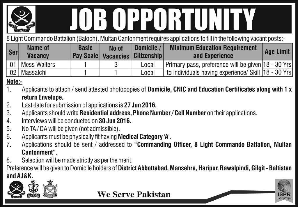 Eight Light Commando Battalion Basic Scale Jobs