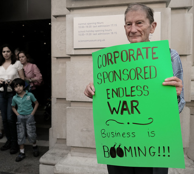 """Corporate Sponsored Endless War"" at London's Science Museum."
