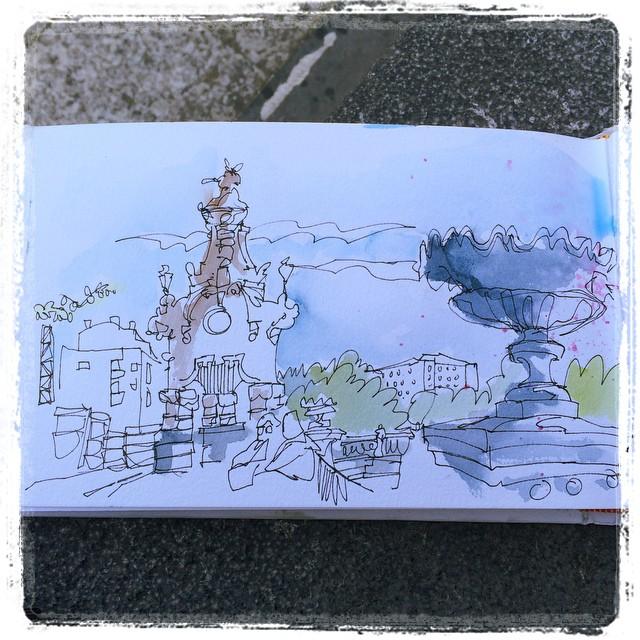 #urbansketch #watercolor #unipin