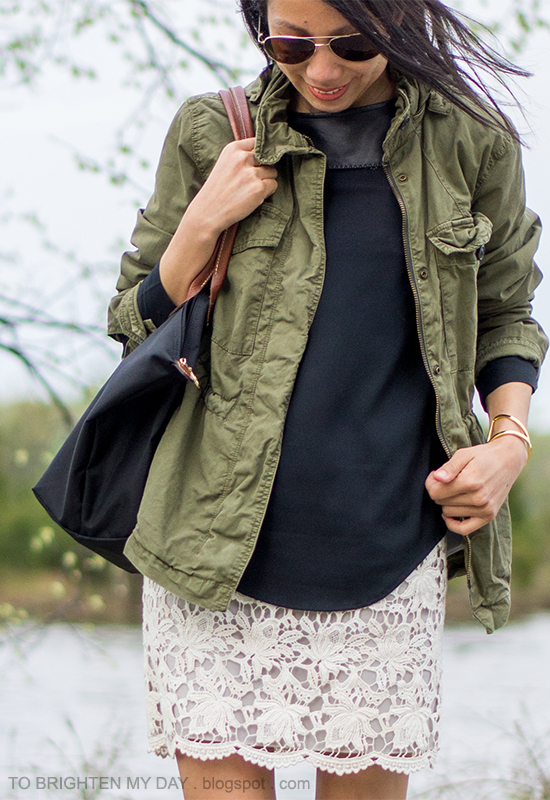 green military jacket, black faux leather top, lace dress as skirt