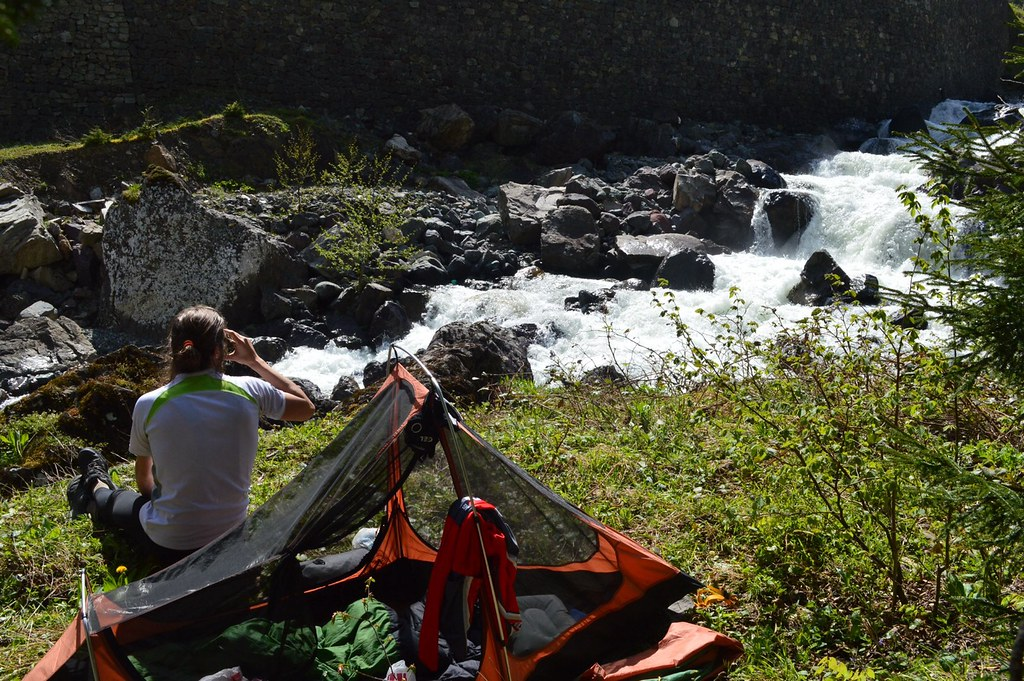 Camping at a river in Turkish mountains