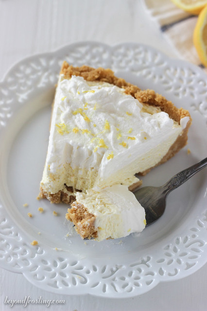 Frozen Lemon Ice Cream Pie. This luscious no-bake dessert is the perfect summer time treat.