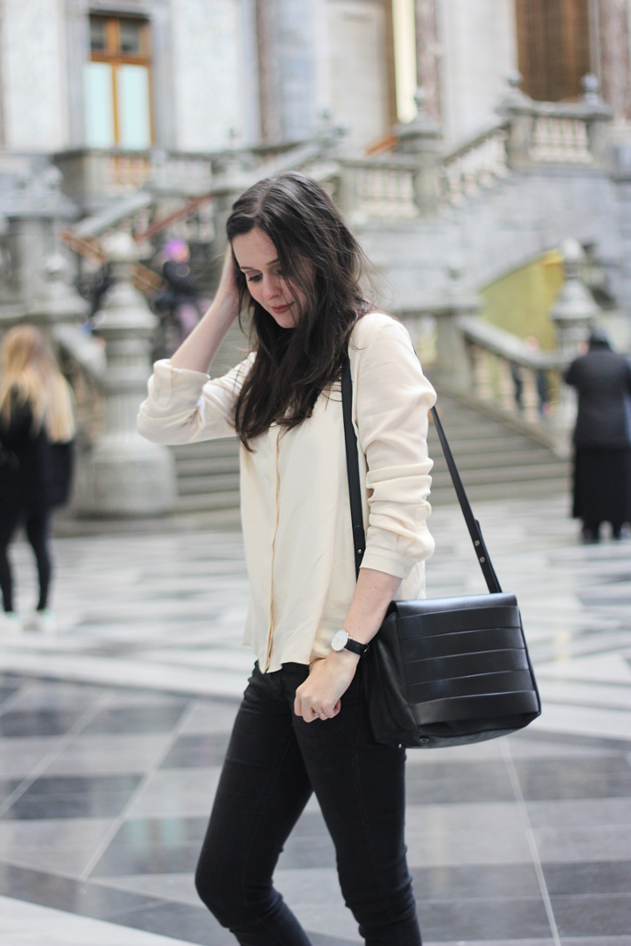 outfit: silk blouse, skinny jeans, and other stories handbag