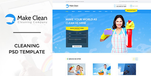 Make Clean - Cleaning Company PSD Template (Business)