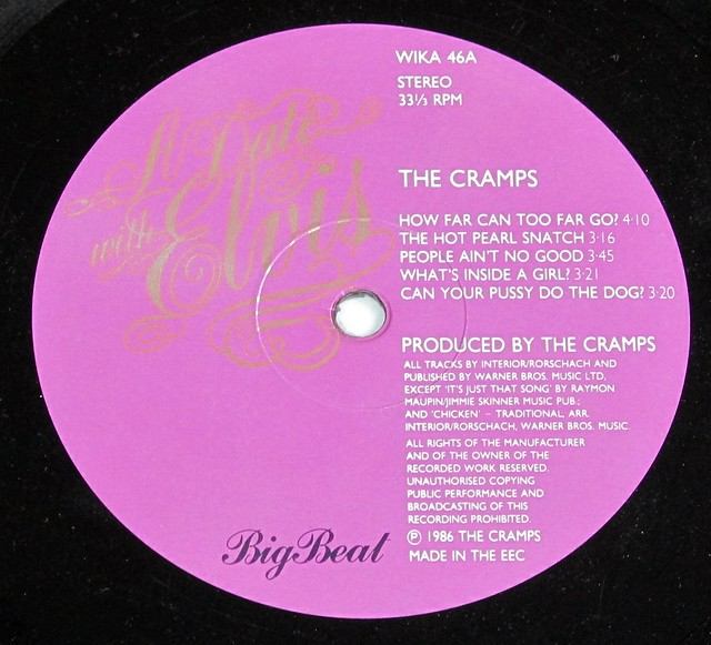 "THE CRAMPS A Date With Elvis CUSTOM INNER SLEEVE BIG BEAT 12"" LP VINYL"