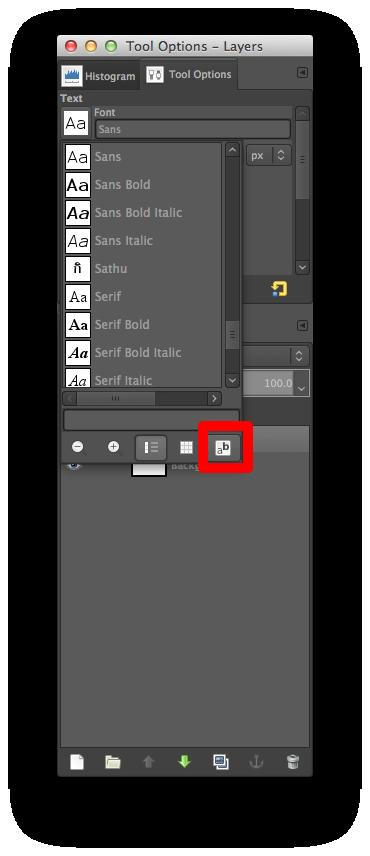 GIMP Open Font Selection Dialog Button