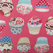 2527B - Sweet Cup Cake Fabric in Brink Pink, Afternoon Tea Flavor, Breakfast Tea Paris, Japanese Cotton, Cosmo Textile