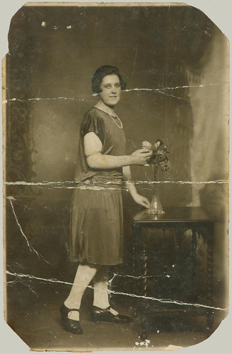 RPPC woman and flower