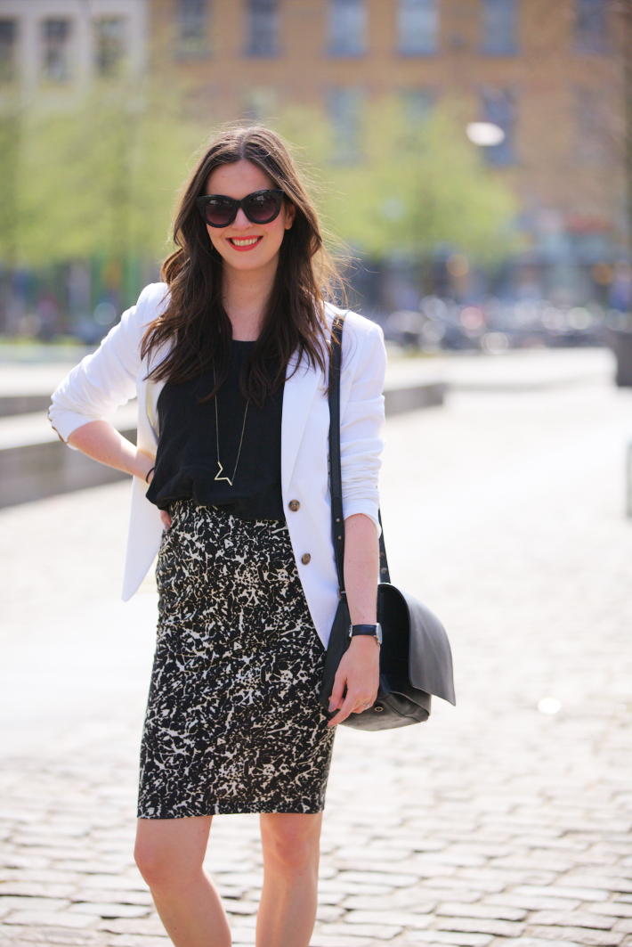 outfit: professional in white blazer and printed pencil skirt