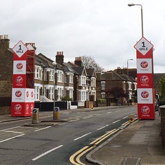 Marathon mile markers at the top of our street