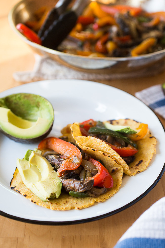 Portobello and Poblano Fajitas