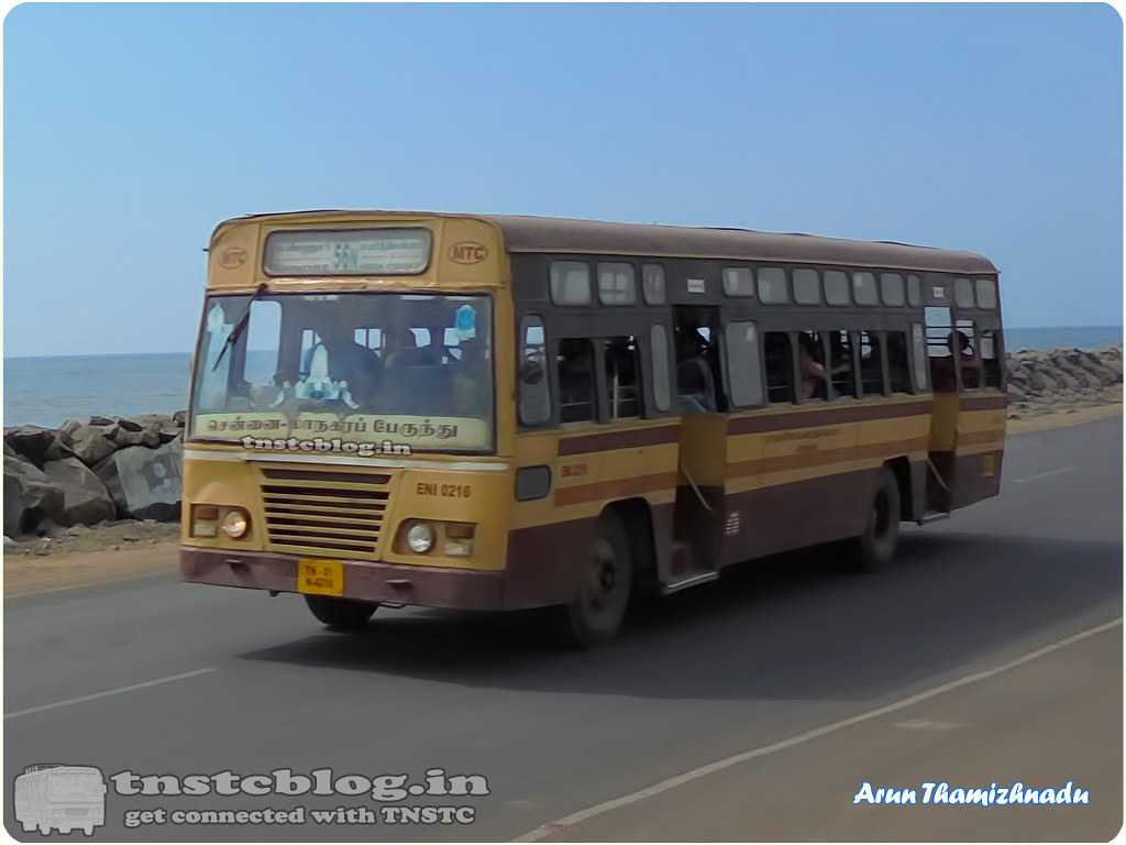 TN-01N-4218 ENI 0216 Ennore Depot 56N Ennore - HighCourt via Thazzhankuppam, Royapuram, Beach Station.