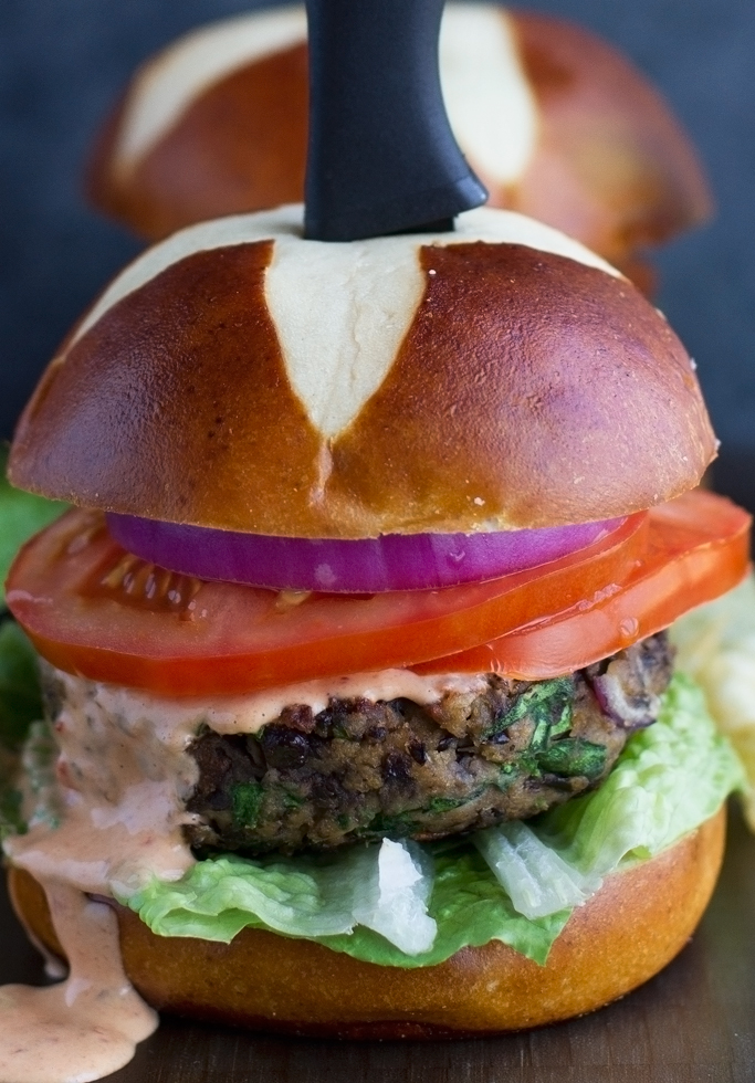 Black Bean Mushroom Burgers with Chipotle Mayo - Ready in 30 minutes and so easy to whip up. Great on top of salads, burgers, or in pitas! #veggieburger #blackbeanburgers #meatlessmonday #veggiepatties   Littlespicejar.com