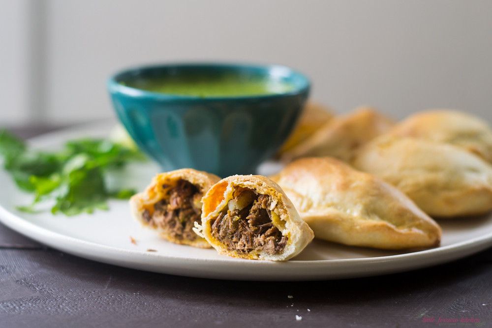 Brisket Empanadas with Passion Fruit Chimichurri via LittleFerraroKitchen.com