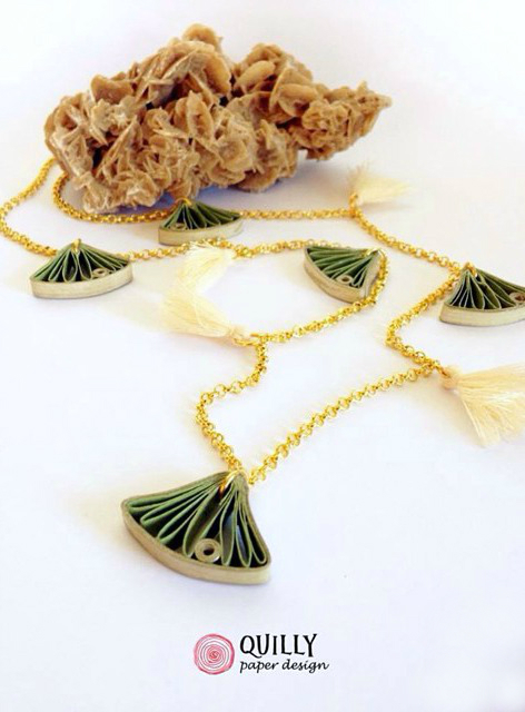 Quilly Paper Design Ginko Leaves and Tassels Necklace