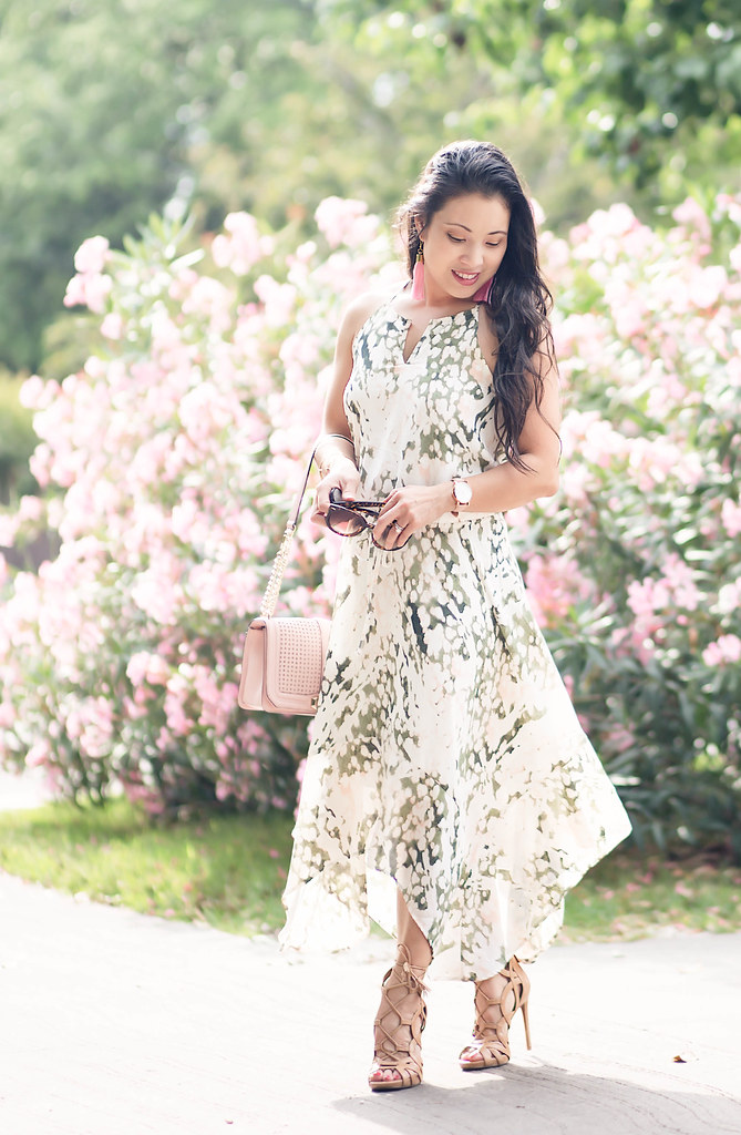 chiffon watercolor midi dress | summer wedding shower graduation outfit
