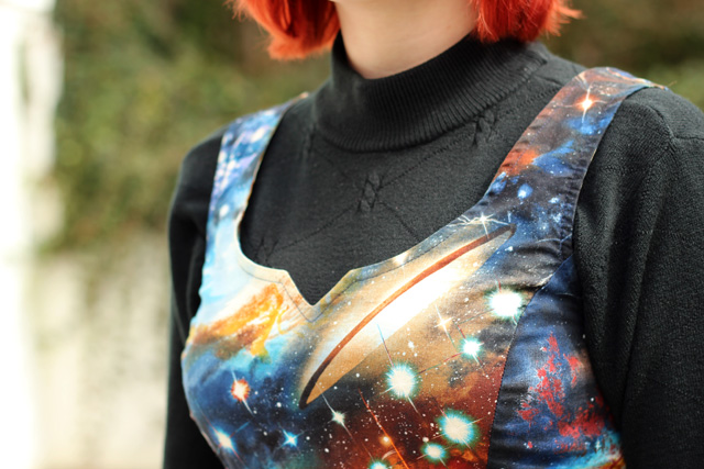 Heart and Solar System Galaxy Pattern Dress Notched Neckline