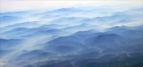 mountain nature fog landscape view southkorea viewfromtheplane