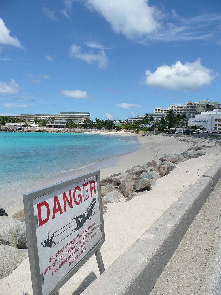 Danger signs at Maho Beach in St. Maarten