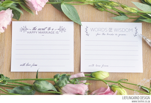 Download your free wedding advice cards printable | Lovilee Blog