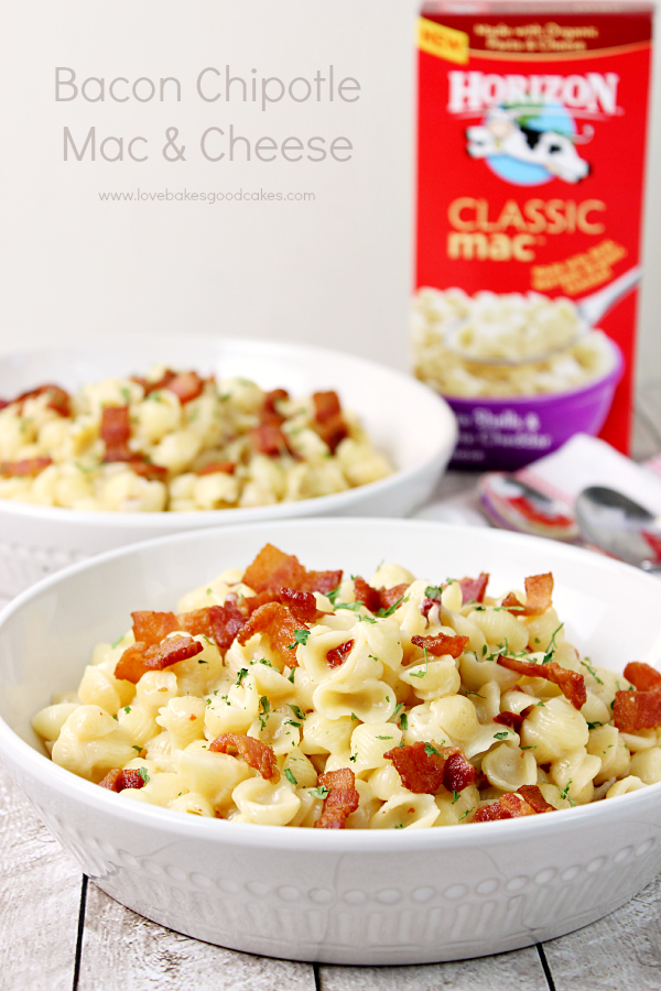 This Bacon Chipotle Mac & Cheese is a great way to get dinner on the table fast! Starting with a boxed mac and cheese, you can easily add a few other ingredients to make dinner delicious! #ad