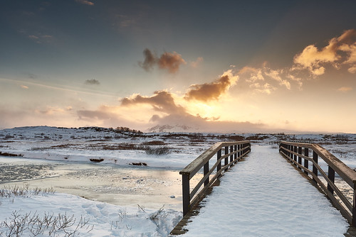 bridge blue sky orange snow ice clouds sunrise landscape geotagged iceland thingvellir þingvellir ísland lee09softndgrad nikon20mmf18g