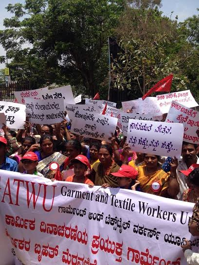 GATWU unionists march for May Day 2015 in India
