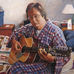 Self-portrait with Guitar; oil on canvas,  34 x 35 in, 2016