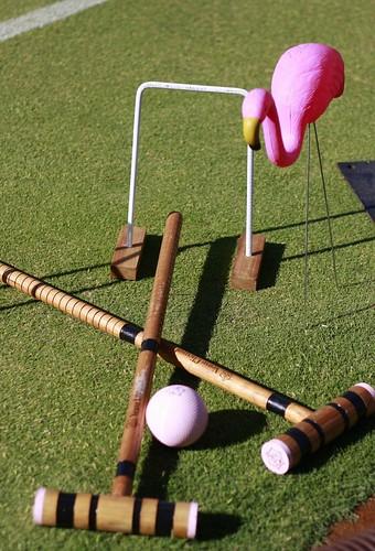 Flamingo and croquet sticks