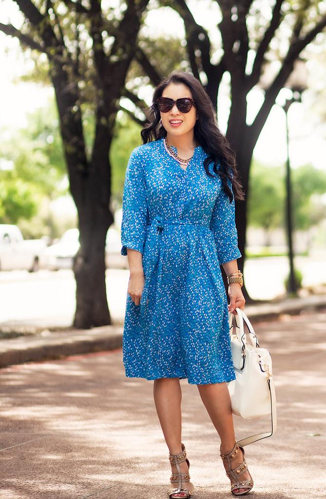cute & little blog   eve of eden nursing leaf print shirt dress, shoedazzle azzurra studded sandal heels   spring outfit