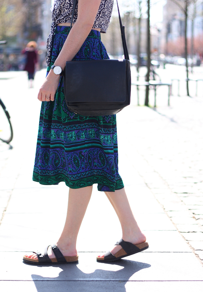 crop top, vintage paisley circle skirt, salina birkenstocks