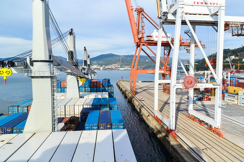 Steering into the port of Vigo, Spain
