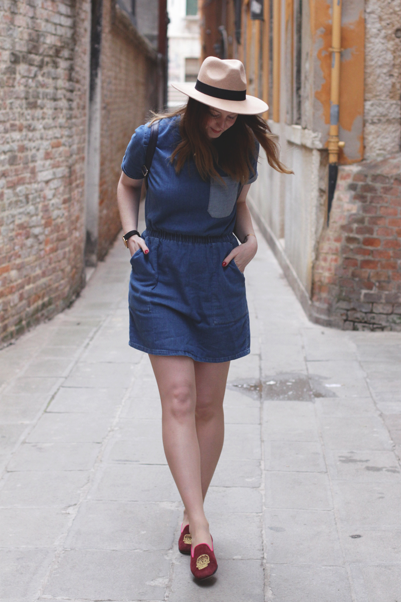 Denim shirt dress and suede slippers, Bumpkin Betty