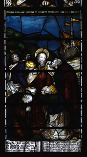 Lichfield, Staffordshire, cathedral, nave, stained glass window, St. Paul, detail
