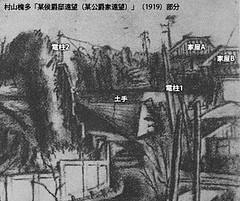 村山槐多「某侯爵邸遠望(某公爵家遠望)」(1919)部分