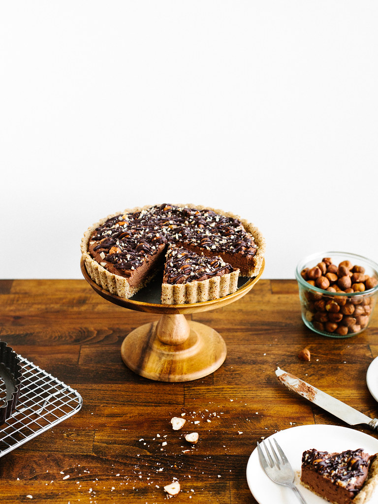 Chocolate-hazelnut tart with maple ganache