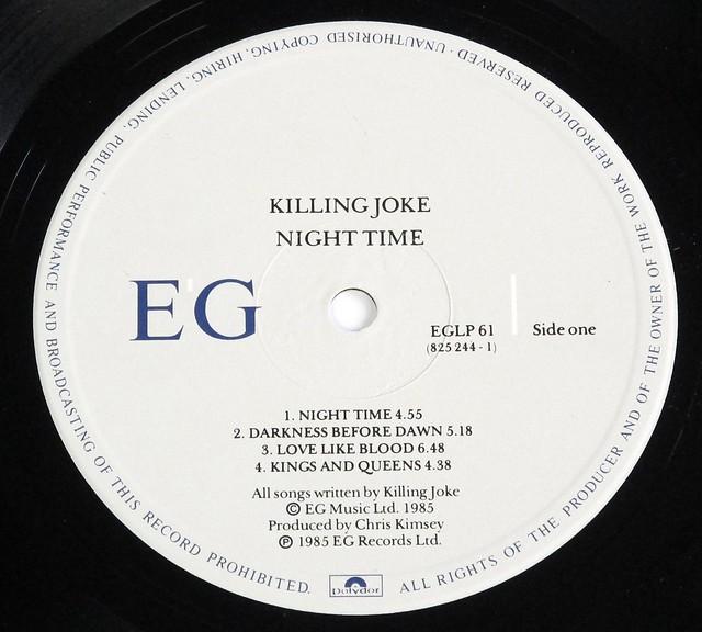 """KILLING JOKE NIGHT TIME 12"""" LP VINYL"""