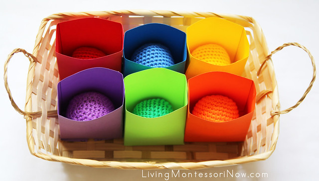 Colored Bag and Yarn Ball Matching Activity