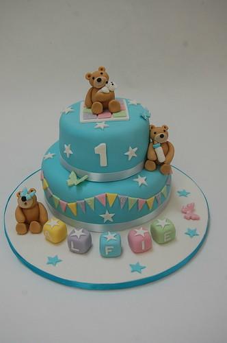 Three Bears First Birthday Cake