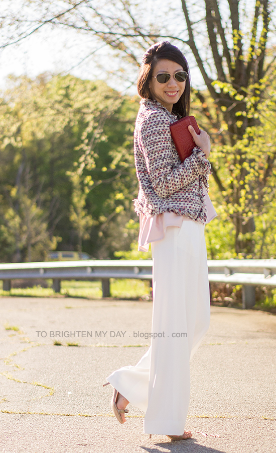 tweed jacket, pink peplum top, white trousers, red clutch, bow sandals