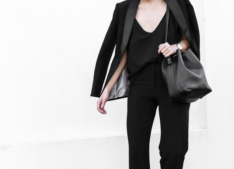 modern legacy, fashion blog, bucket bag, street style, sport luxe, wide leg suit, karen millen, all black (1 of 1)