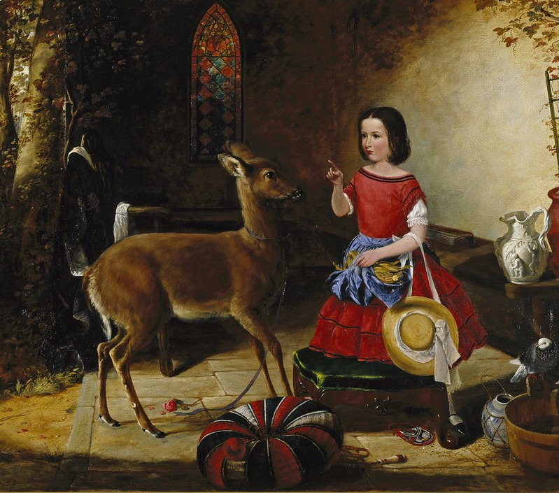 Arthur Fitzwilliam Tait - The Reprimand. Ah! You Naughty Fawn, You Have Been Eating the Flowers Again (1852)