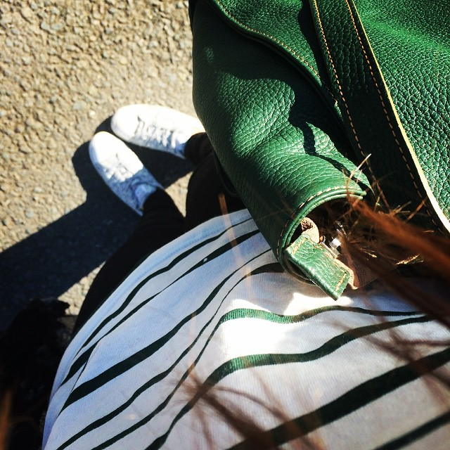 Green Breton stripes for going home from super sunny Hereford. I don't want to go back to reality. There's no 2004 Bollinger in reality.