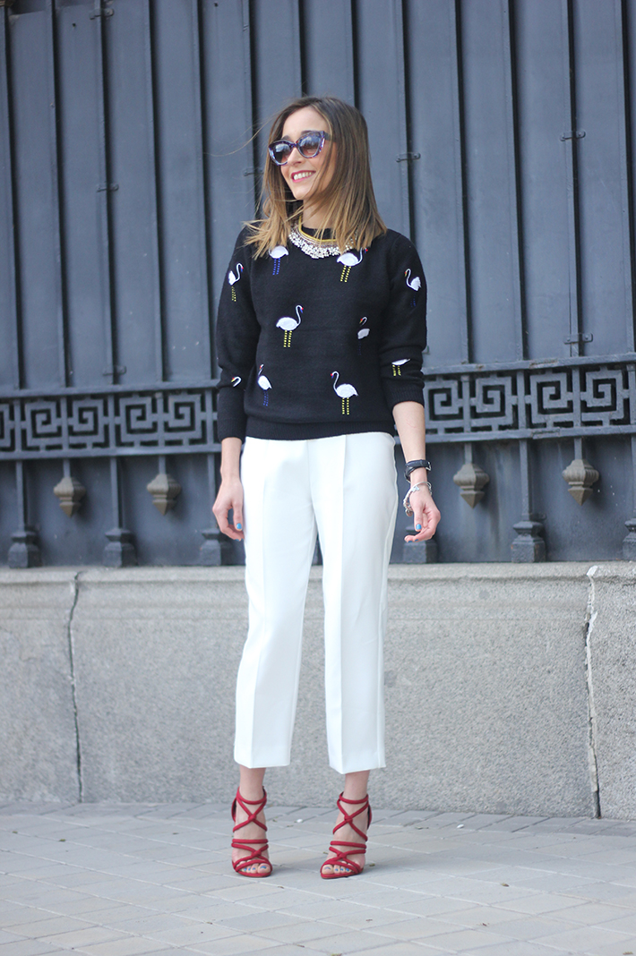 flamingo sweater sheinside white trousers zara sandals zara01