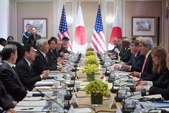 U.S. Secretary of State John Kerry, U.S. Defense Secretary Ash Carter, and U.S. Permanent Representative to the United Nations Samantha Power meet with Japan Defense Minister Gen Nakatani and Japan Foreign Minister Fumio Kishida before they hold a 2+2 meeting to discuss foreign policy and defense issues in New York, New York, on April 27, 2015. [State Department photo/ Public Domain]