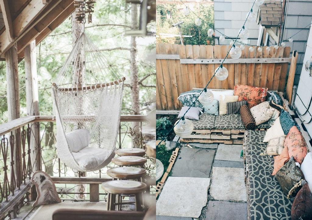 beautiful bohemian outdoor spaces backyard hammock