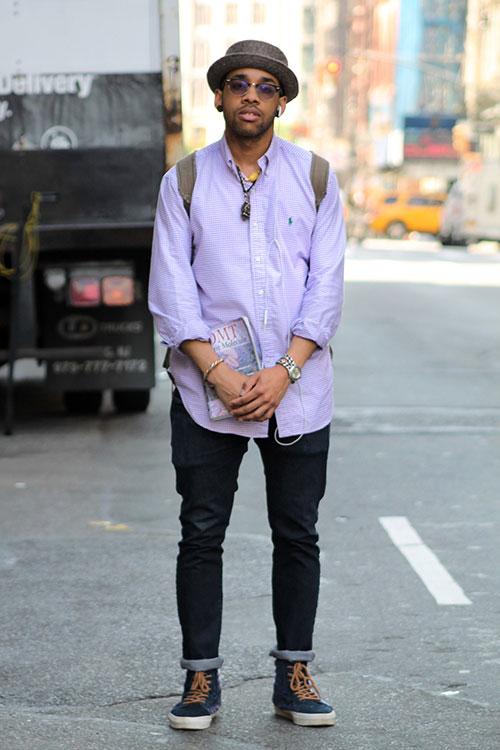 ラルフローレンのチェックシャツ×ブラックジーンズ